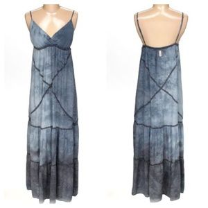 Gypsy05 Silk Blue Tie Dye Maxi Dress